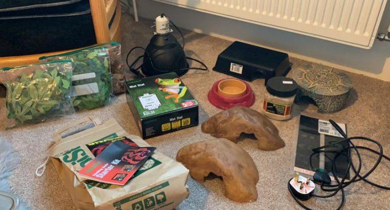 Reptile equipment, heat mats, thermostat, hides etc