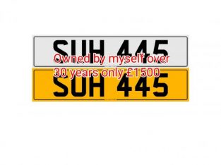 private plate SUH 445 cherrished number plate