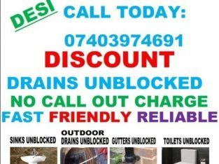 DISCOUNT DRAINS UNBLOCKED SERVICES – TOILET REPAIR INSTALL- NO CALL OUT CHARGE – ⭐⭐⭐⭐⭐