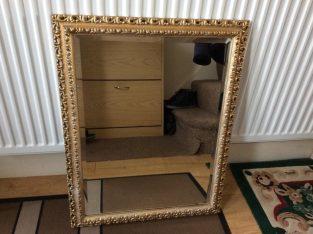 Large Bevelled Edge Gilt Frame Mirror