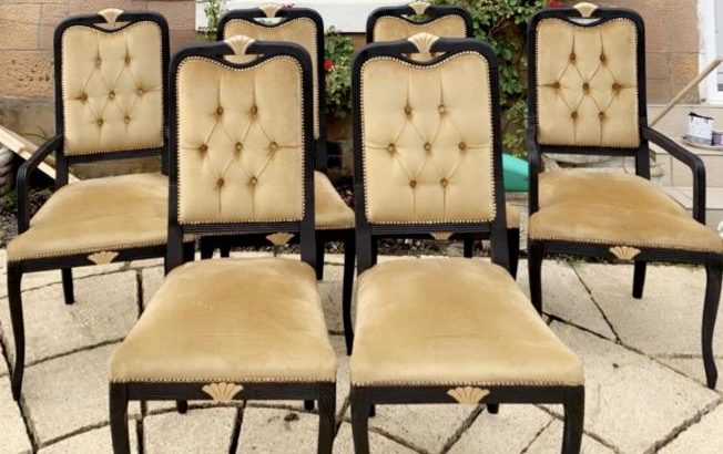 Stunning set of 6 upcycled dining chairs