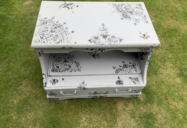 TV Cabinet Stand Shabby Chic Grey Vintage