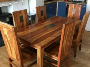 Solid Mango Wood 180cm Dining Table & 6 Chairs