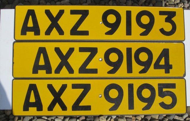 3 consecutive private plates