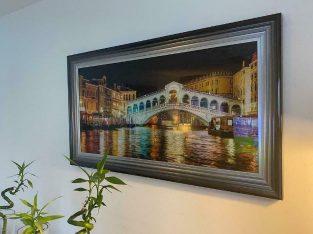 Glass Liquid art framed wall picture – wall art Rialto Bridge Venice