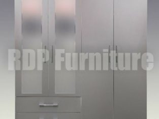 Beatrice 4 door 2 drawer mirrored wardrobe grey