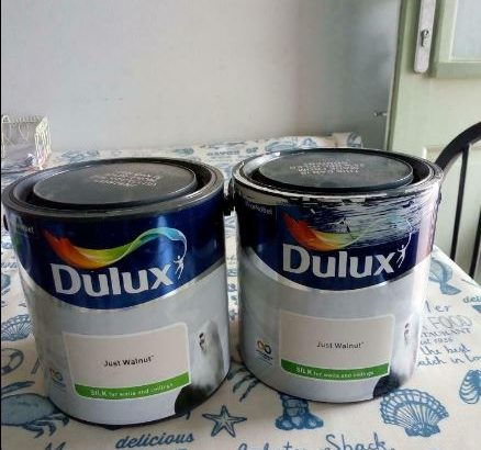 Dulux 'Just Walnut' silk paint one and half 2.5l cans