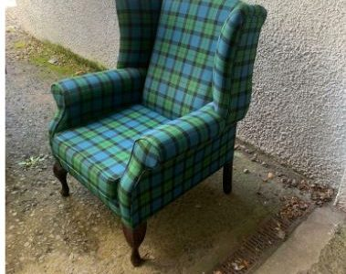 Tartan wingback armchair * free furniture delivery *