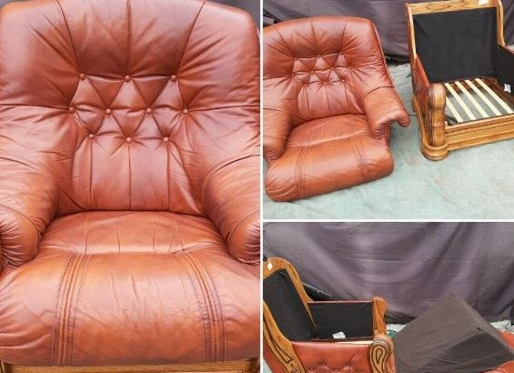 2 soft leather and carved wood armchairs with matching footstool