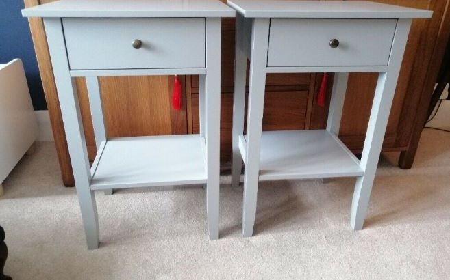 Grey bedside tables pair