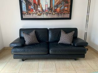 Ligne Roset Black Leather Sofa
