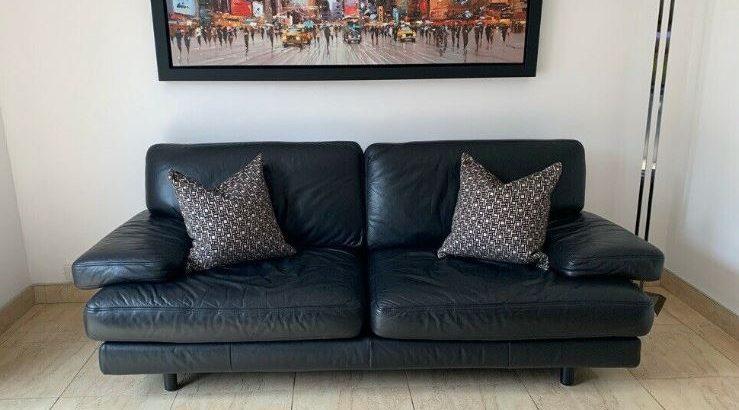 Ligne Roset Black Leather Sofa