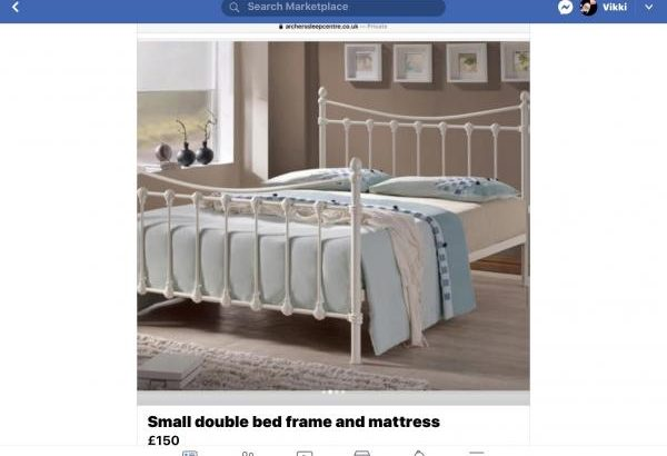 Small Double Metal Bed Frame and Mattress
