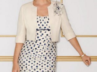 Condidi Nougat and navy spotted dress with bolero jacket £450 ovno