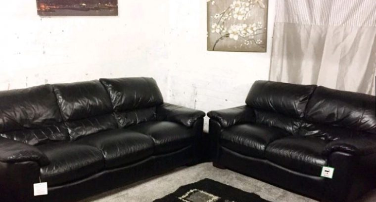 Ex display Real leather Black 3+2 seater sofas