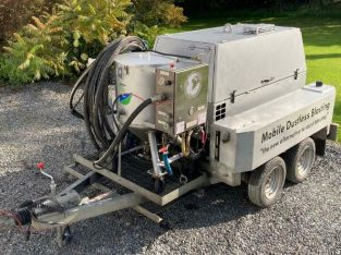 Wet Blasting Trailer, slurry pot and compressor