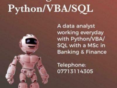 Python/VBA/SQL coding tutoring