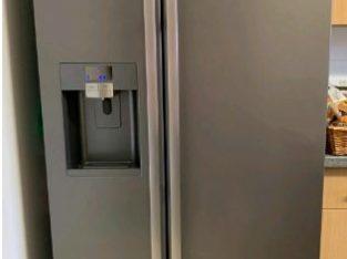 Silver Samsung American water and ice dispenser fridge freezer
