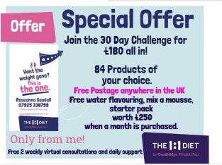 SPECIAL OFFER A Month on the 1:1 DIET by Cambridge Weight Plan!! 30 day Challenge, Worth £250
