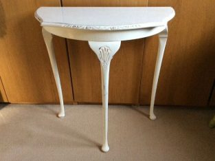 FRENCH STYLE VINTAGE WHITE HALLWAY CONSOLE HALF MOON TABLE