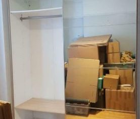 DOUBLE SLIDING WARDROBE GOOD CONDITION. FREE DELIVERY IKEA PAX WHITE OAK & MIRRORE